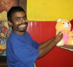 shuktara home for young people with disabilities - 2017 April - Anna with bear - Bengali New Year
