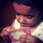 shuktara May 2016 - Moni concentrating on her stitching