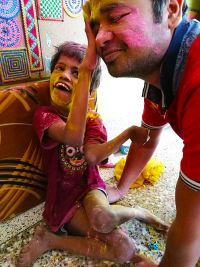 shuktara home for young people with disabilities - 2017 March Holi - Guria and Pappu