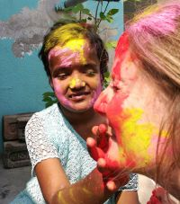 shuktara home for young people with disabilities - 2017 March Holi - Moni and Caroline