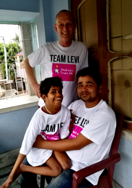 shuktara home for young adults with disabilities - 2017 March - David, Guria and Pappu in their Team Levi t-shirts