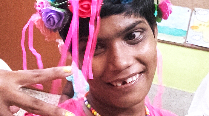 shuktara home for disabled girls - 2016 September - Tamina with floral headband