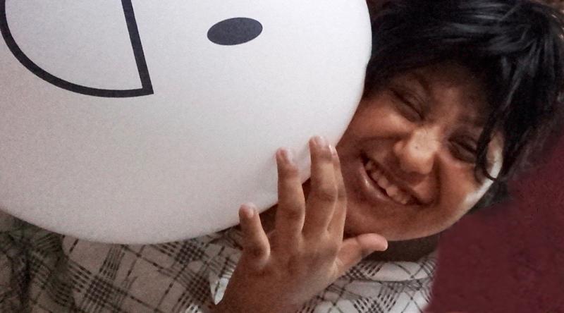 shuktara home for disabled girls - Muniya with white balloon