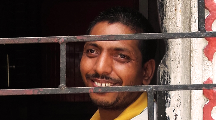 shuktara May 2016 - Bablu Lal at home, sitting by the entrance of the home