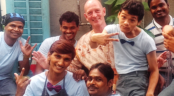 shuktara home for young adults with disability - 2016 November - Shuktara Cakes team with David and Pappu at Sienna Cafe