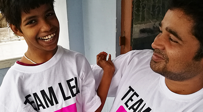 shuktara home for young adults with disabilities - 2017 March - Guria and Pappu in their Team Levi t-shirts