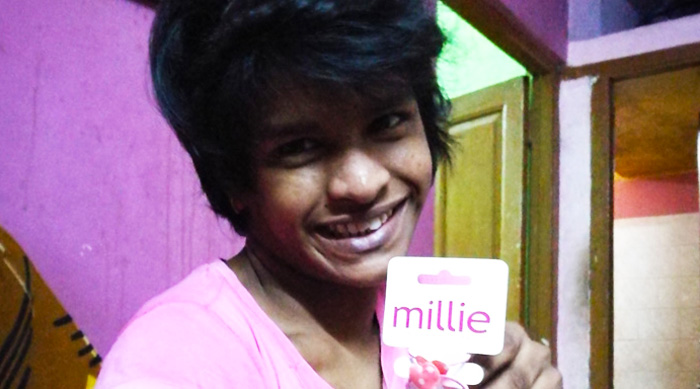 shuktara home for girls with disabilities - 2017 June - Lali with her gift from Karen