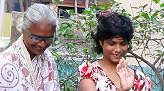 Tamina and Nandita in the garden