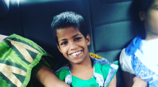 shuktara home for disabled girls - 2016 June - Tookie, Guria and Prity in the car going to Mobility India