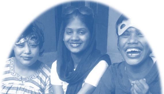 shuktara home for disabled girls - three girls smiling