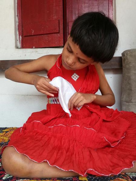 shuktara - Puja in a red dress - 2016-02-16