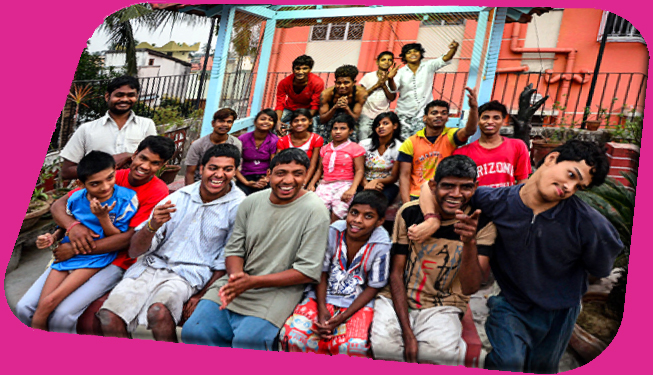 shuktara home for young adults with disabilities - Group of young disabled men and women smiling and laughing